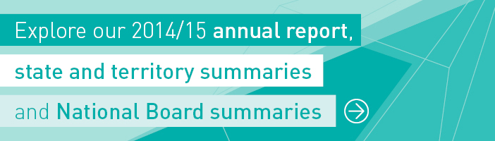 Explore our 2014/15 annual report, state and territory summaries and National Board summaries.