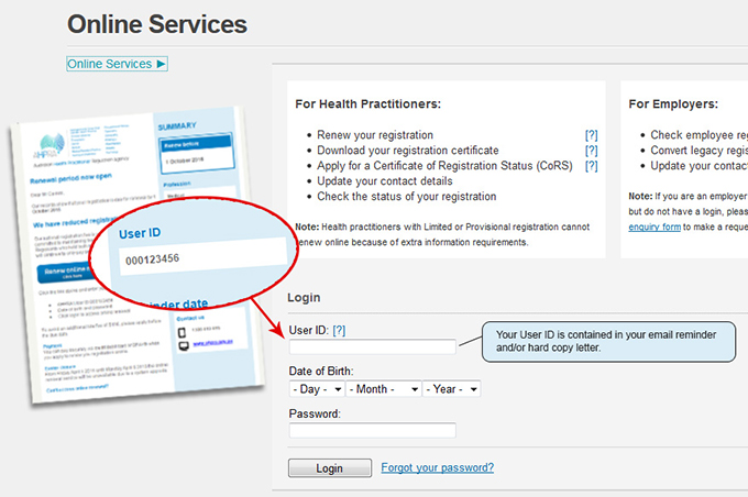 Online services screen indicating where to locate your user id on the registration renewal email.