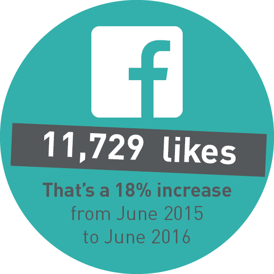 11,729 likes on Facebook. That's a 18% increase from June 2015 to June 2016.